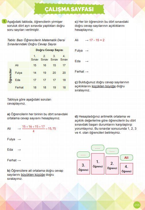 6. Sınıf Matematik Ders Kitabı Çözümleri ve Cevapları Sayfa 255 MEB Yayınları