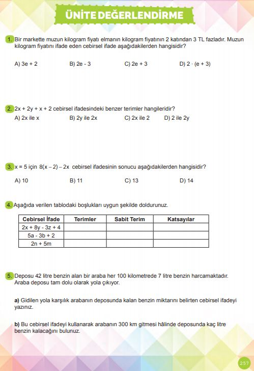 6. Sınıf Matematik Ders Kitabı Çözümleri ve Cevapları Sayfa 257 MEB Yayınları