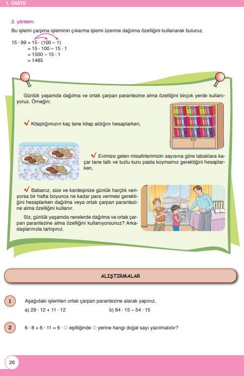 6. Sınıf Matematik Ders Kitabı Çözümleri ve Cevapları Sayfa 26 Öğün Yayınları