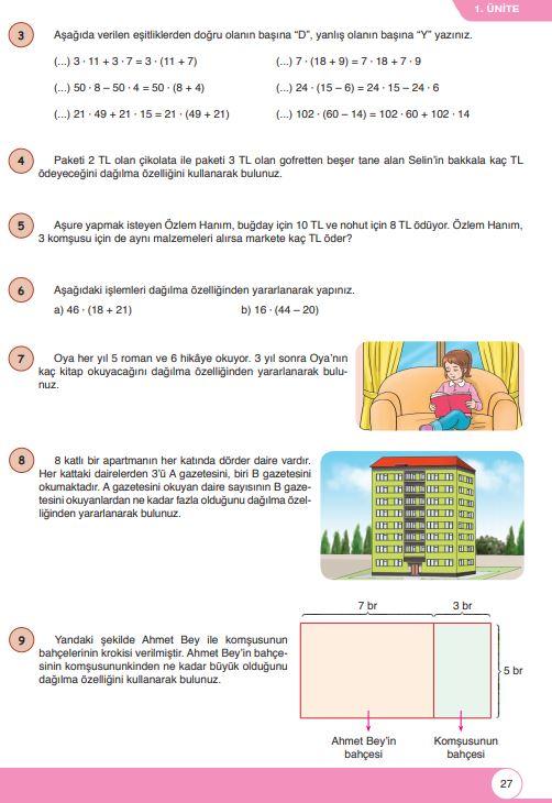 6. Sınıf Matematik Ders Kitabı Çözümleri ve Cevapları Sayfa 27 Öğün Yayınları