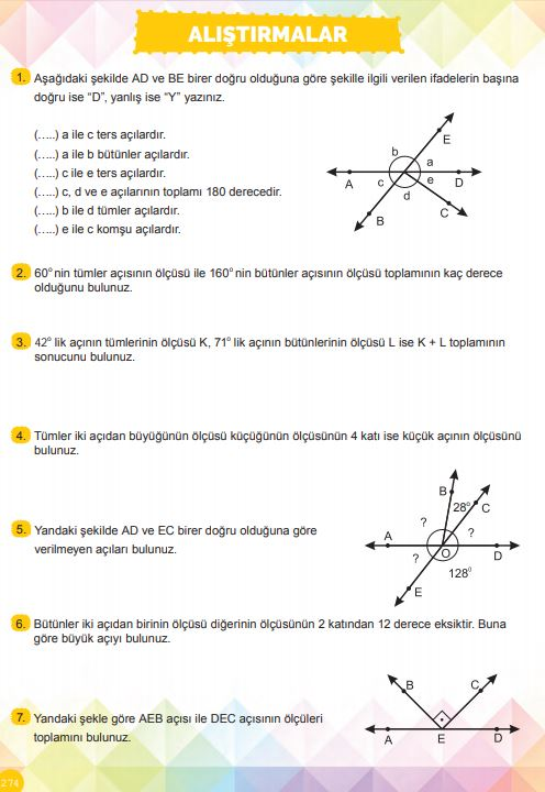 6. Sınıf Matematik Ders Kitabı Çözümleri ve Cevapları Sayfa 274 MEB Yayınları