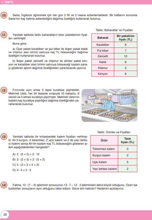 6. Sınıf Matematik Ders Kitabı Çözümleri ve Cevapları Sayfa 28 Öğün Yayınları