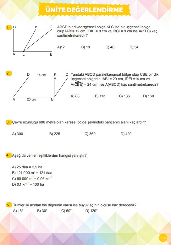 6. Sınıf Matematik Ders Kitabı Çözümleri ve Cevapları Sayfa 315 MEB Yayınları