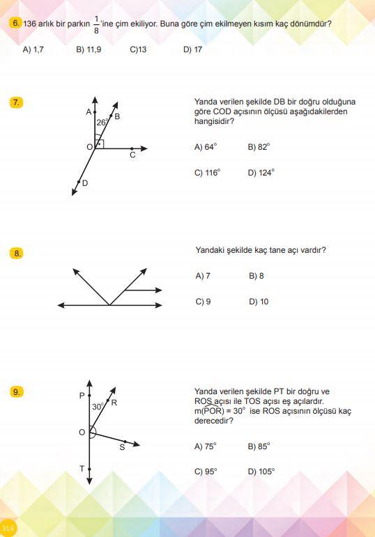 6. Sınıf Matematik Ders Kitabı Çözümleri ve Cevapları Sayfa 316 MEB Yayınları