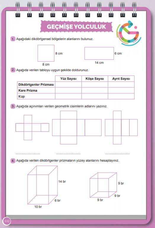 6. Sınıf Matematik Ders Kitabı Çözümleri ve Cevapları Sayfa 332 MEB Yayınları