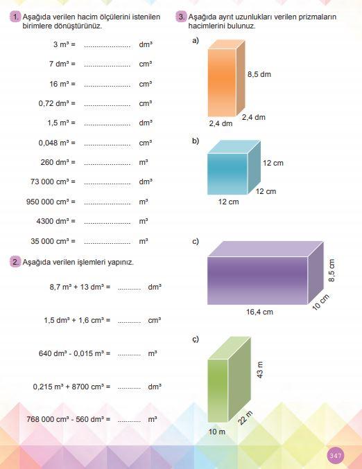 6. Sınıf Matematik Ders Kitabı Çözümleri ve Cevapları Sayfa 347 MEB Yayınları