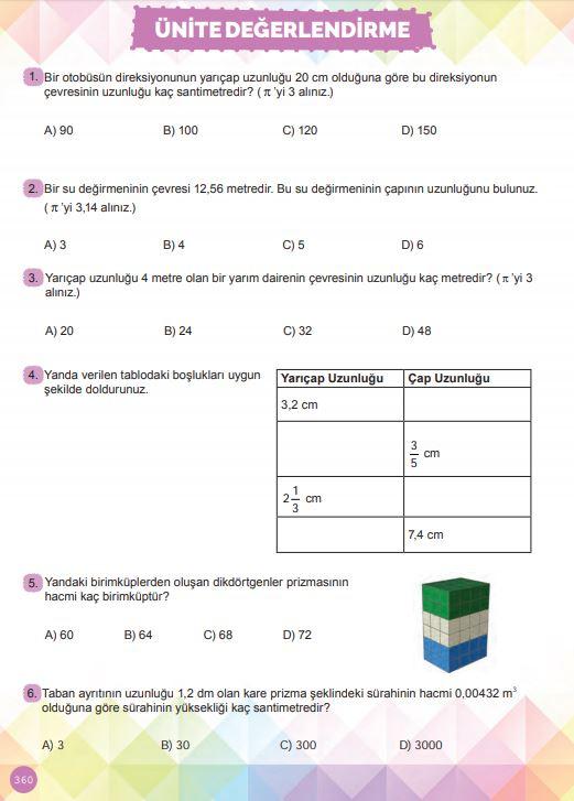 6. Sınıf Matematik Ders Kitabı Çözümleri ve Cevapları Sayfa 360 MEB Yayınları