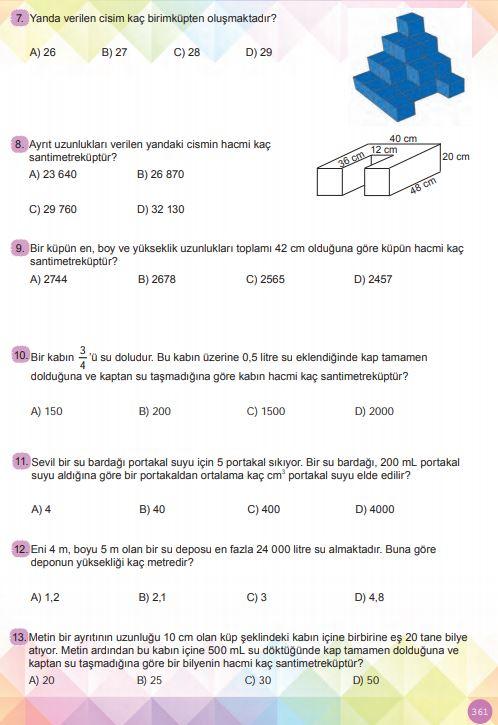 6. Sınıf Matematik Ders Kitabı Çözümleri ve Cevapları Sayfa 361 MEB Yayınları
