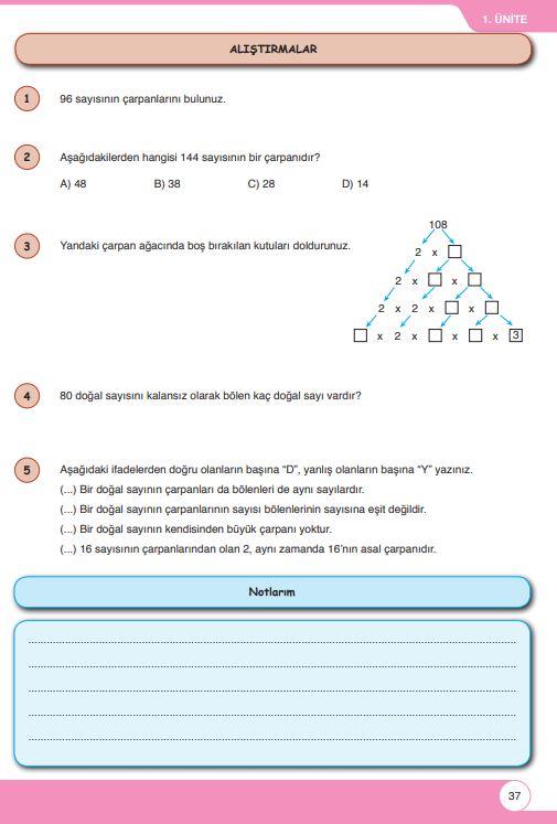 6. Sınıf Matematik Ders Kitabı Çözümleri ve Cevapları Sayfa 37 Öğün Yayınları