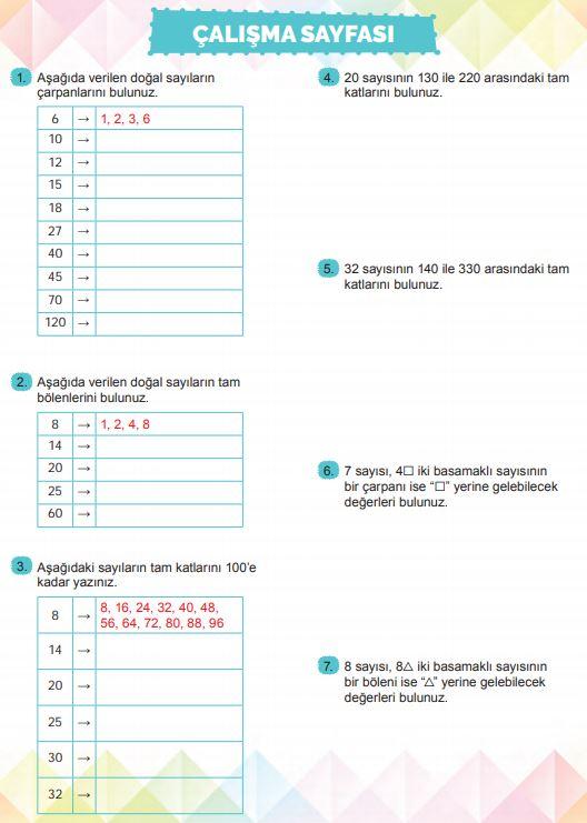 6. Sınıf Matematik Ders Kitabı Çözümleri ve Cevapları Sayfa 44 MEB Yayınları