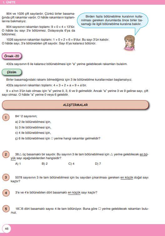 6. Sınıf Matematik Ders Kitabı Çözümleri ve Cevapları Sayfa 46 Öğün Yayınları