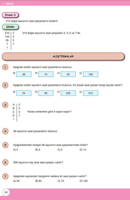 6. Sınıf Matematik Ders Kitabı Çözümleri ve Cevapları Sayfa 52 Öğün Yayınları