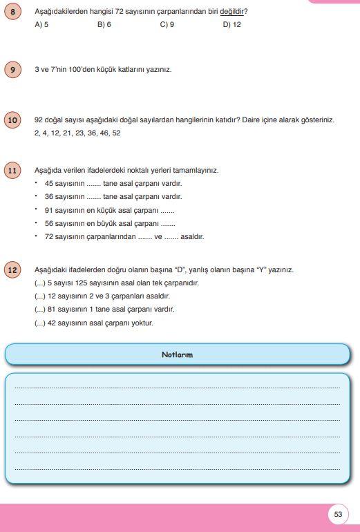 6. Sınıf Matematik Ders Kitabı Çözümleri ve Cevapları Sayfa 53 Öğün Yayınları