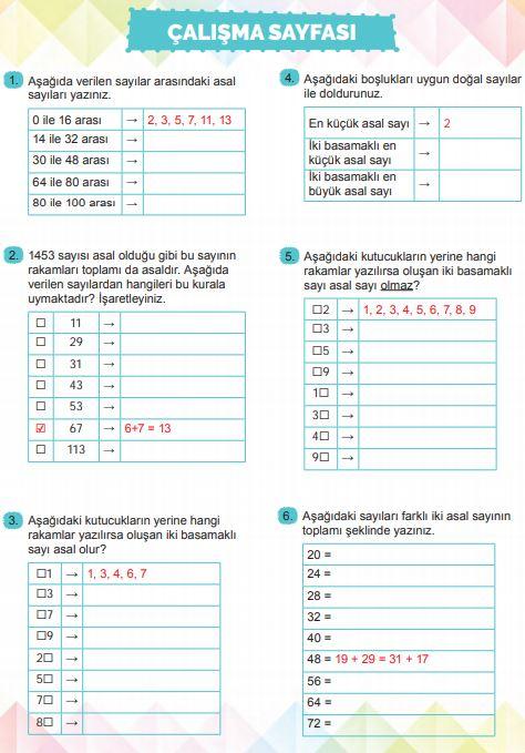 6. Sınıf Matematik Ders Kitabı Çözümleri ve Cevapları Sayfa 61 MEB Yayınları