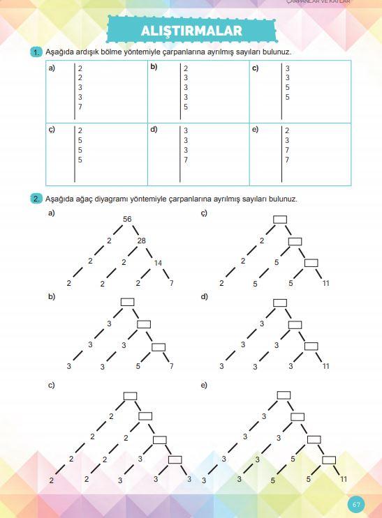 6. Sınıf Matematik Ders Kitabı Çözümleri ve Cevapları Sayfa 67 MEB Yayınları