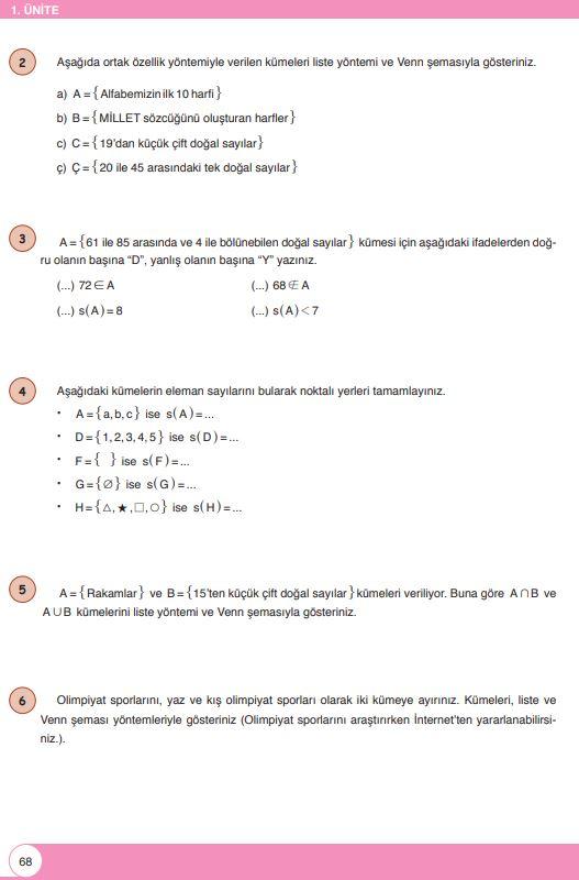 6. Sınıf Matematik Ders Kitabı Çözümleri ve Cevapları Sayfa 68 Öğün Yayınları