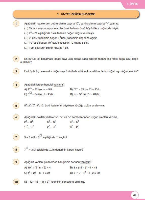6. Sınıf Matematik Ders Kitabı Çözümleri ve Cevapları Sayfa 69 Öğün Yayınları