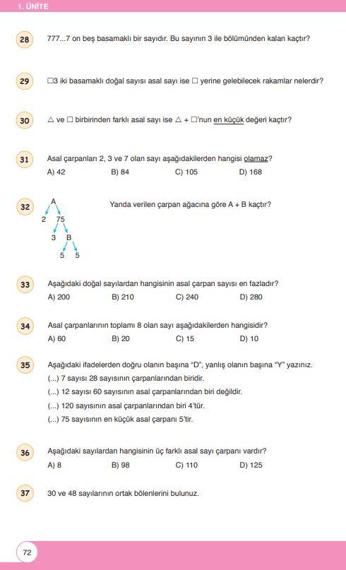 6. Sınıf Matematik Ders Kitabı Çözümleri ve Cevapları Sayfa 72 Öğün Yayınları