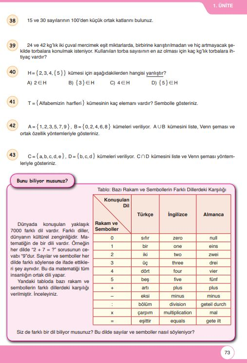 6. Sınıf Matematik Ders Kitabı Çözümleri ve Cevapları Sayfa 73 Öğün Yayınları