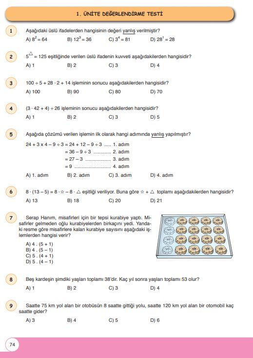 6. Sınıf Matematik Ders Kitabı Çözümleri ve Cevapları Sayfa 74 Öğün Yayınları