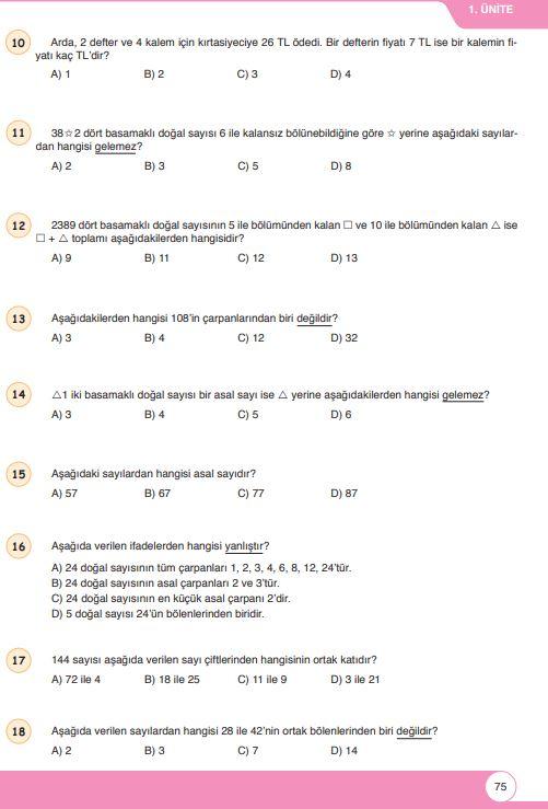 6. Sınıf Matematik Ders Kitabı Çözümleri ve Cevapları Sayfa 75 Öğün Yayınları