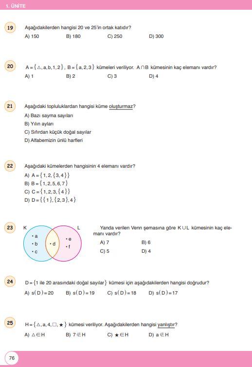 6. Sınıf Matematik Ders Kitabı Çözümleri ve Cevapları Sayfa 76 Öğün Yayınları