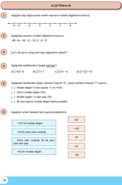 6. Sınıf Matematik Ders Kitabı Çözümleri ve Cevapları Sayfa 86 Öğün Yayınları