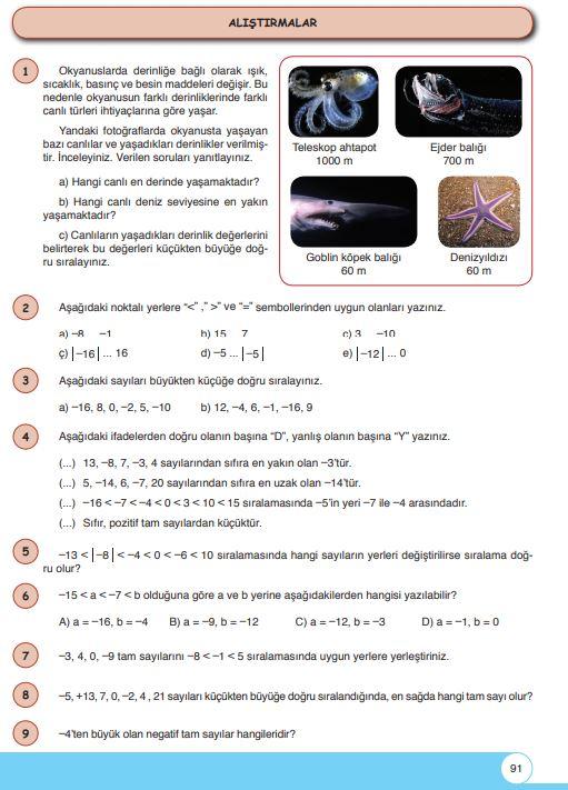 6. Sınıf Matematik Ders Kitabı Çözümleri ve Cevapları Sayfa 91 Öğün Yayınları