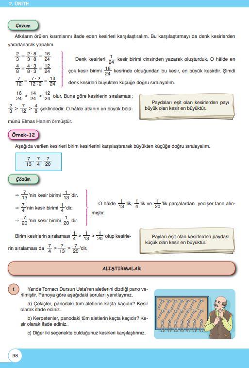 6. Sınıf Matematik Ders Kitabı Çözümleri ve Cevapları Sayfa 98 Öğün Yayınları