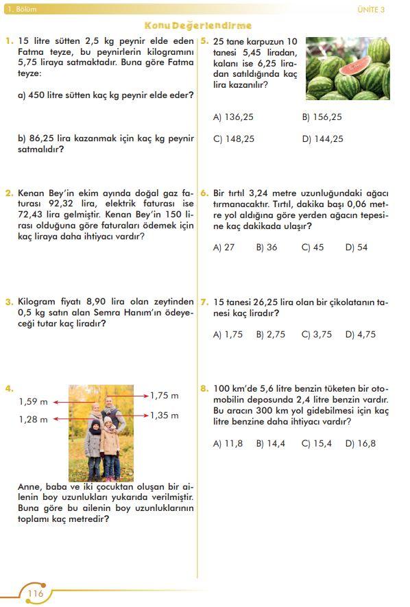 6. Sınıf Matematik Ders Kitabı Çözümleri ve Cevapları Sayfa 116 MEB Yayınları