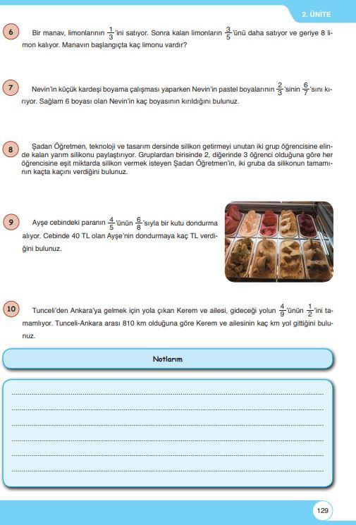 6. Sınıf Matematik Ders Kitabı Çözümleri ve Cevapları Sayfa 129 Öğün Yayınları