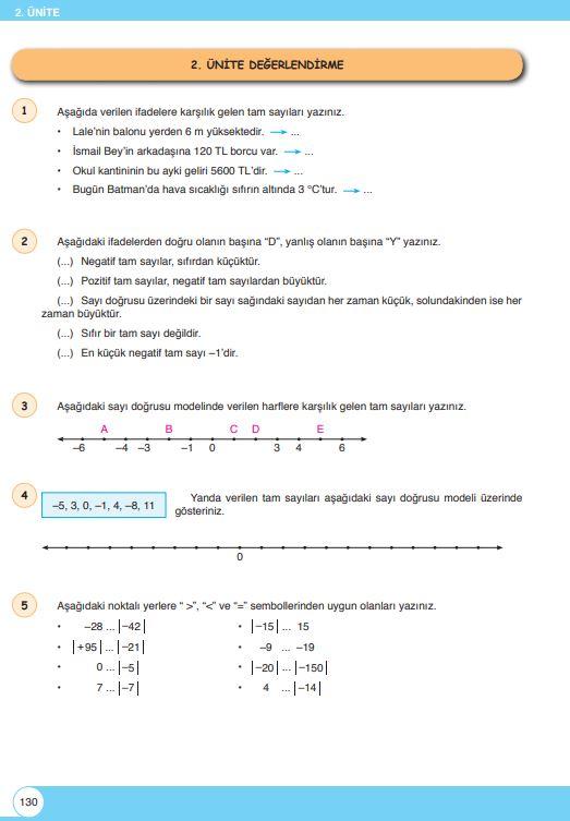 6. Sınıf Matematik Ders Kitabı Çözümleri ve Cevapları Sayfa 130 Öğün Yayınları