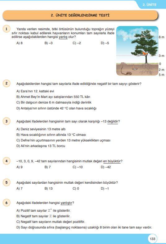 6. Sınıf Matematik Ders Kitabı Çözümleri ve Cevapları Sayfa 133 Öğün Yayınları