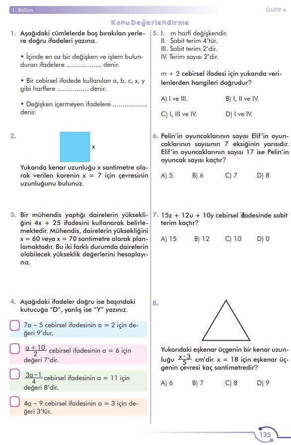 6. Sınıf Matematik Ders Kitabı Çözümleri ve Cevapları Sayfa 135 MEB Yayınları
