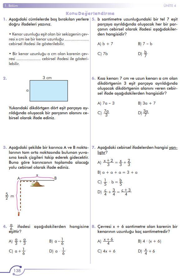 6. Sınıf Matematik Ders Kitabı Çözümleri ve Cevapları Sayfa 138 MEB Yayınları
