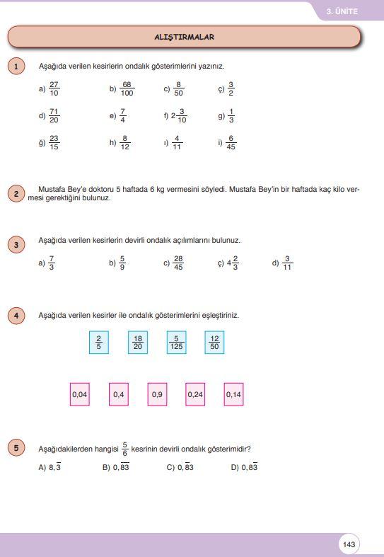 6. Sınıf Matematik Ders Kitabı Çözümleri ve Cevapları Sayfa 143 Öğün Yayınları