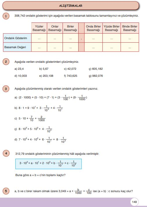 6. Sınıf Matematik Ders Kitabı Çözümleri ve Cevapları Sayfa 149 Öğün Yayınları