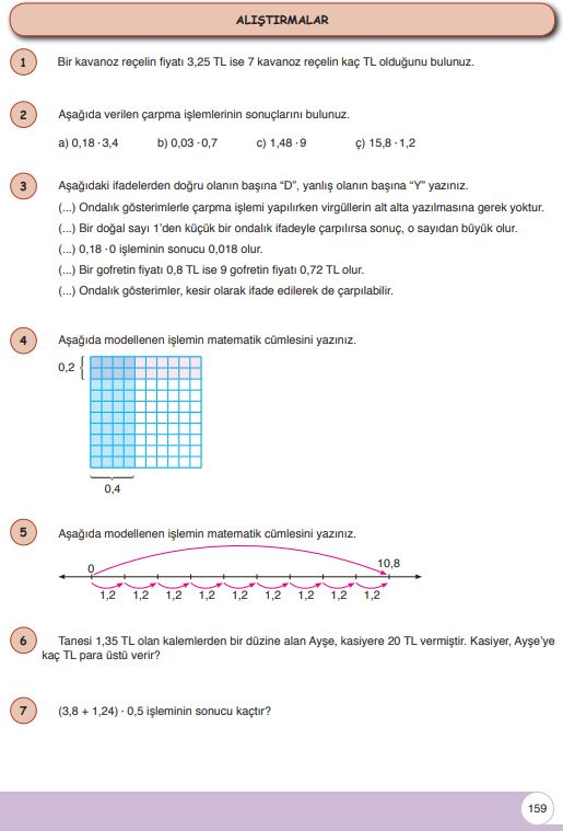 6. Sınıf Matematik Ders Kitabı Çözümleri ve Cevapları Sayfa 159 Öğün Yayınları
