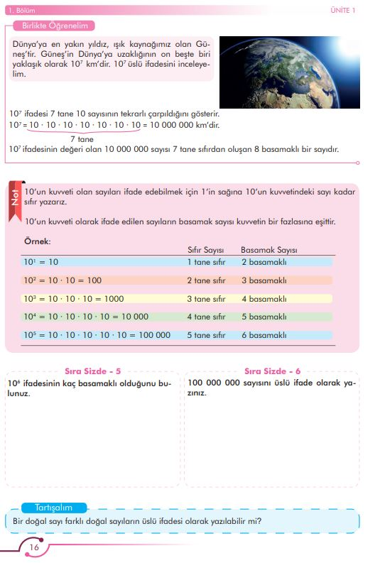 6. Sınıf Matematik Ders Kitabı Çözümleri ve Cevapları Sayfa 16 MEB Yayınları