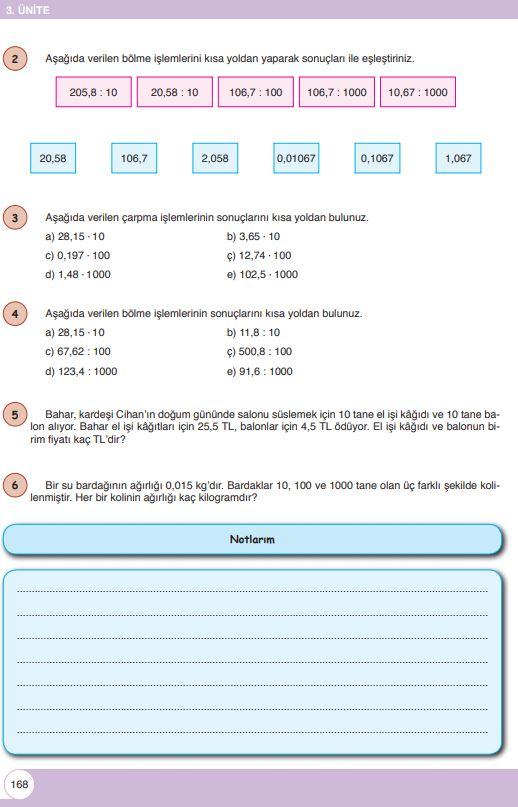 6. Sınıf Matematik Ders Kitabı Çözümleri ve Cevapları Sayfa 168 Öğün Yayınları