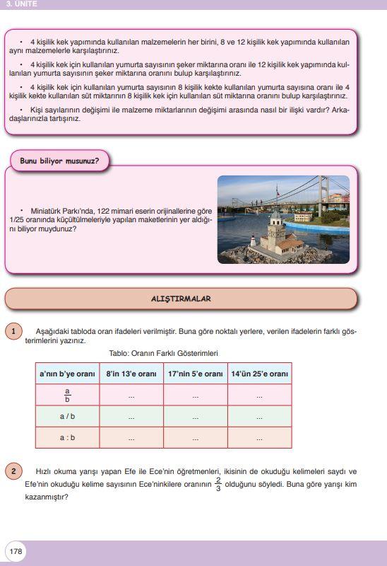 6. Sınıf Matematik Ders Kitabı Çözümleri ve Cevapları Sayfa 178 Öğün Yayınları