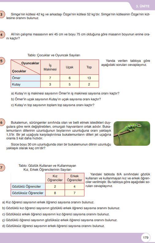 6. Sınıf Matematik Ders Kitabı Çözümleri ve Cevapları Sayfa 179 Öğün Yayınları