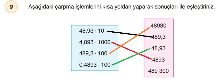 6. Sınıf Matematik Ders Kitabı Çözümleri ve Cevapları Sayfa 182-9 Öğün Yayınları