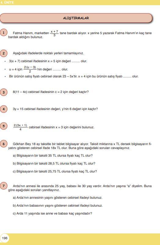 6. Sınıf Matematik Ders Kitabı Çözümleri ve Cevapları Sayfa 196 Öğün Yayınları