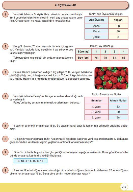 6. Sınıf Matematik Ders Kitabı Çözümleri ve Cevapları Sayfa 213 Öğün Yayınları