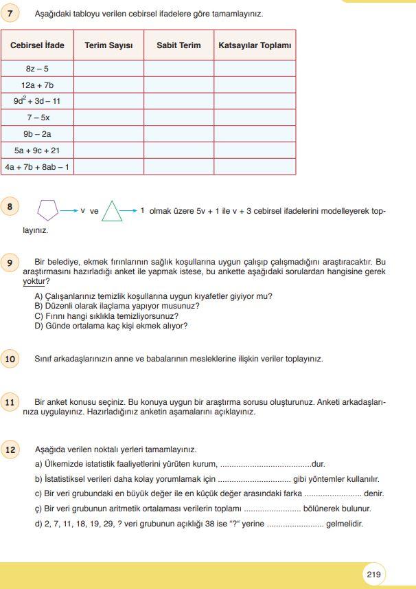 6. Sınıf Matematik Ders Kitabı Çözümleri ve Cevapları Sayfa 219 Öğün Yayınları