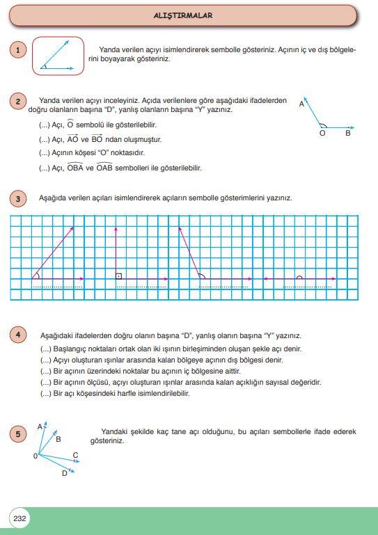 6. Sınıf Matematik Ders Kitabı Çözümleri ve Cevapları Sayfa 232 Öğün Yayınları
