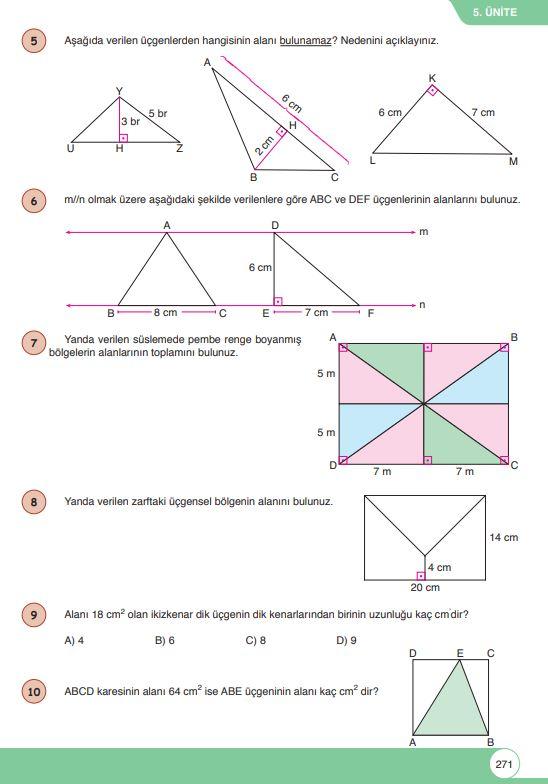 6. Sınıf Matematik Ders Kitabı Çözümleri ve Cevapları Sayfa 271 Öğün Yayınları