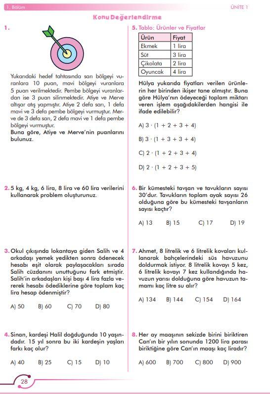 6. Sınıf Matematik Ders Kitabı Çözümleri ve Cevapları Sayfa 28 MEB Yayınları