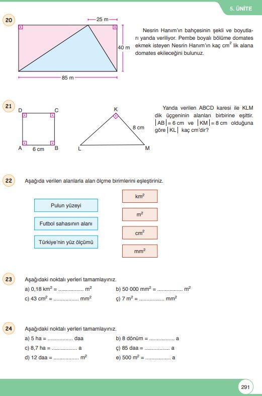 6. Sınıf Matematik Ders Kitabı Çözümleri ve Cevapları Sayfa 291 Öğün Yayınları